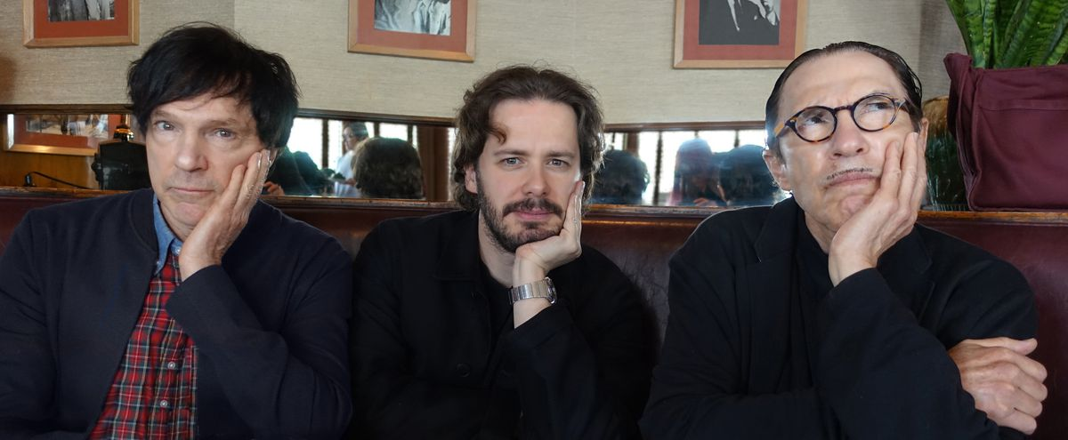 Edgar Wright sits between brothers Russell and Ron Mael of Sparks