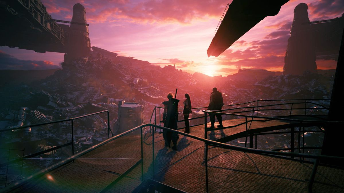 Cloud, Tifa, and Barret watch the sunset in Final Fantasy 7 Remake