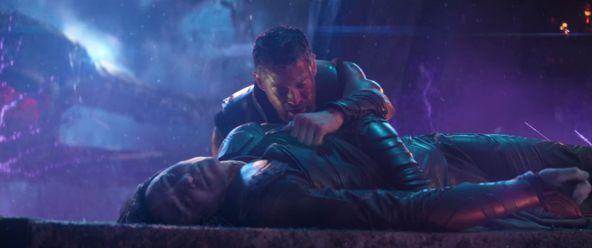 Thor grieves over Loki's body in Avengers: Infinity War.