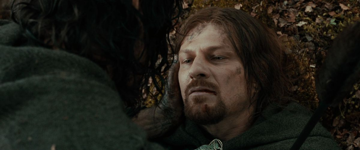 Aragorn tenderly cradles a dying Boromir's face in The Fellowship of the Ring.