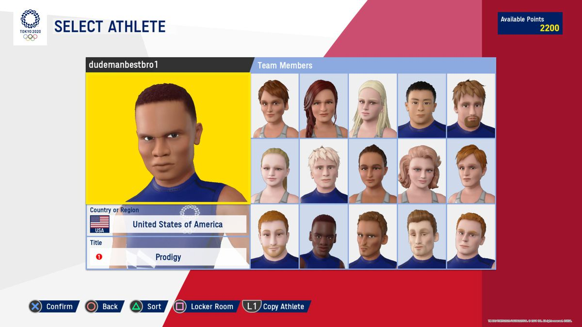 screen showing a main athlete character and their 15 teammates in Olympic Games Tokyo 2020