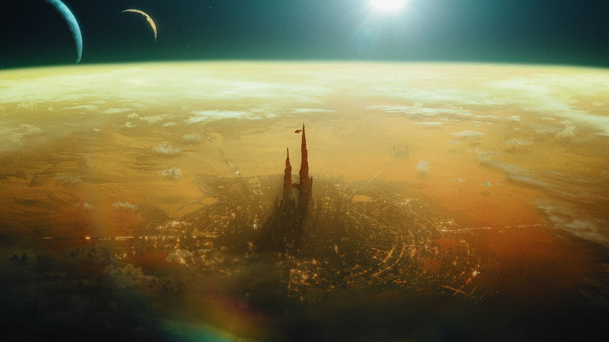 A spire rises into orbit from the surface of a polluted, yellowed world.