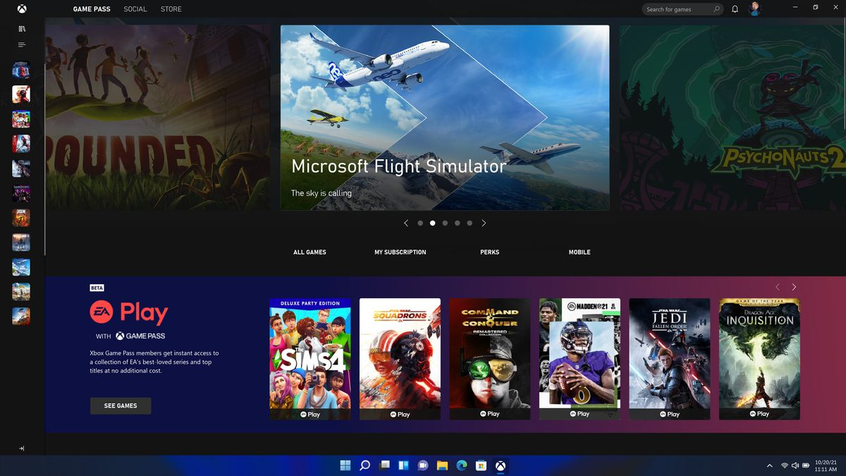 a screenshot of the Xbox Game Pass tab of the Xbox app on Windows 11, with Microsoft Flight Simulator highlighted in the top carousel and EA Play in the lower carousel