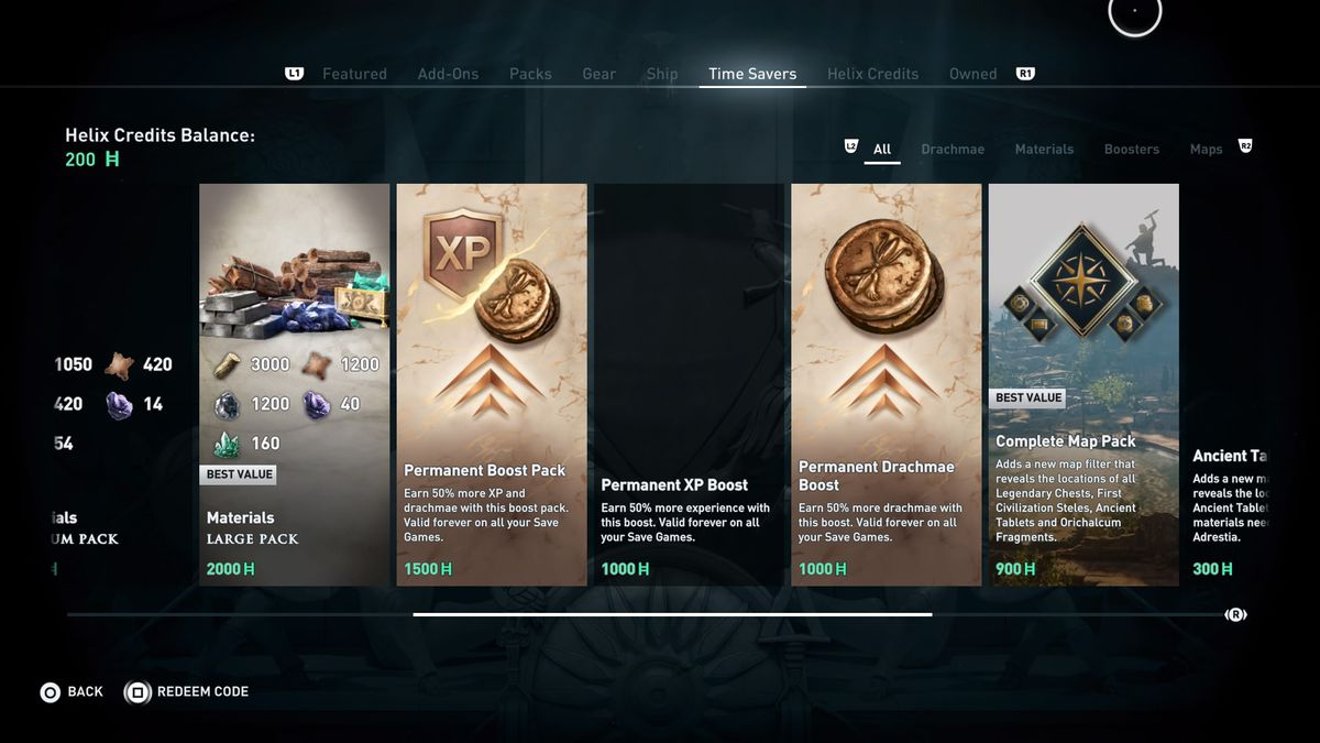 The in-game shop in Assassin's Creed Odyssey