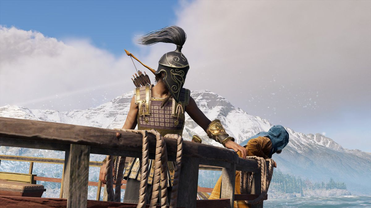 Assassin's Creed Odyssey Kassandra hangs out on a boat
