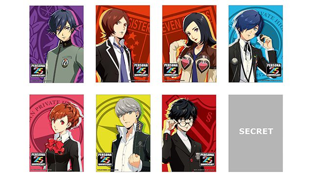Artwork of seven Persona character trading photo cards, with a secret eigth