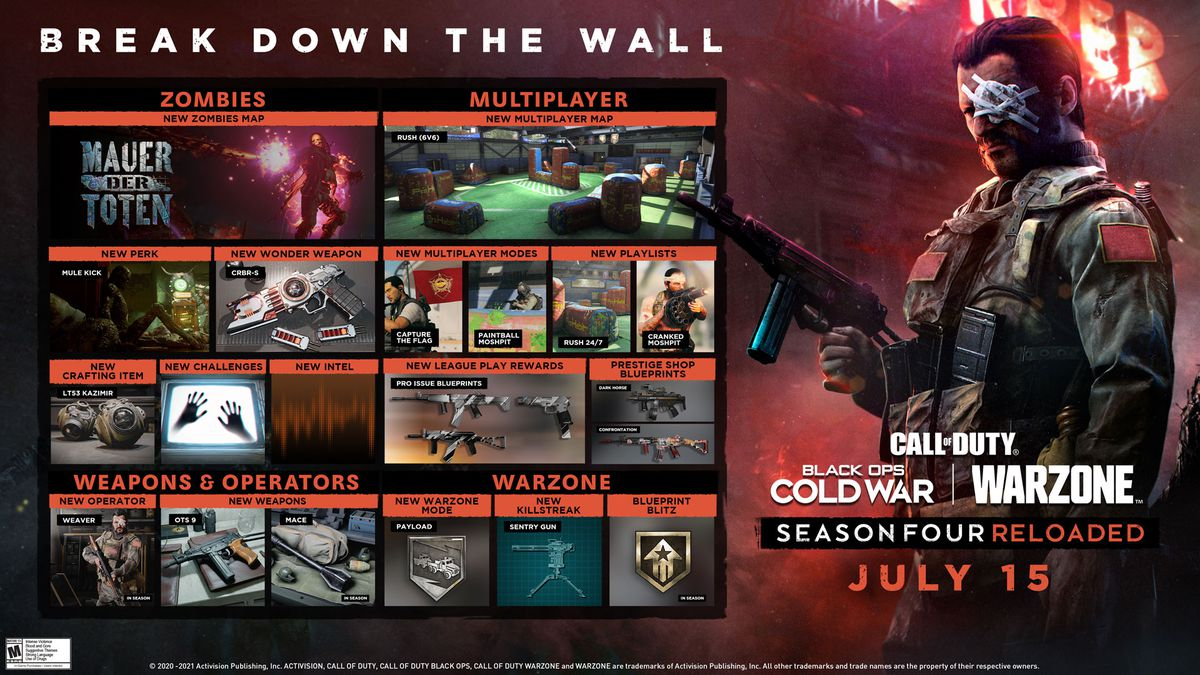 Call of Duty: Black Ops Cold War and Warzone season 4 Reloaded roadmap