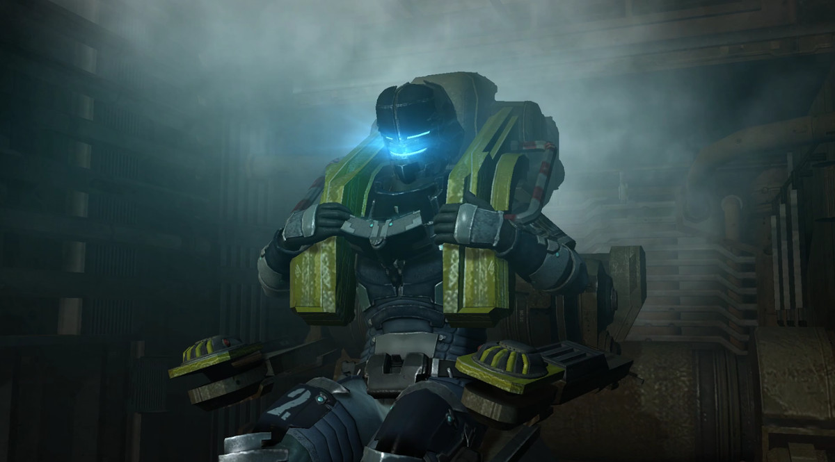 Isaac straps into an ejector seat and prepares for the HALO jump in Dead Space 2