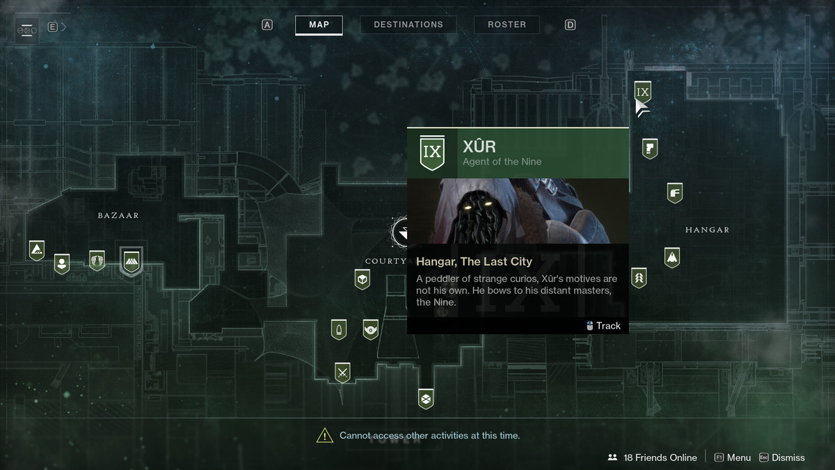 a screenshot of Destiny 2's map showing the location of Xur in the Tower Hangar