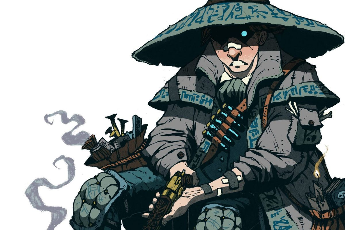 A man in padded armor holding an ornate pistol sits, dejected. He's covered in small bandages.