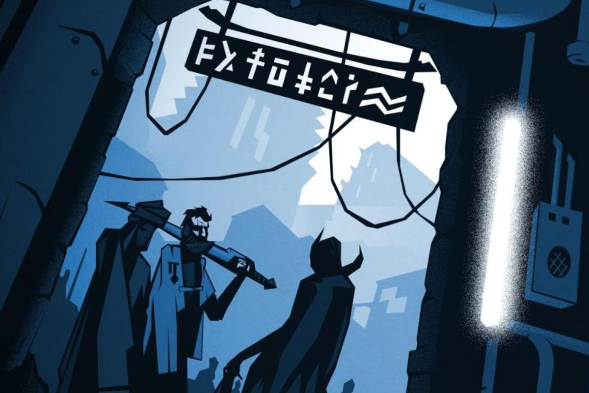 Three people stand chatting on a dark corner in an futuristic city. One holds a power sword over one shoulder.