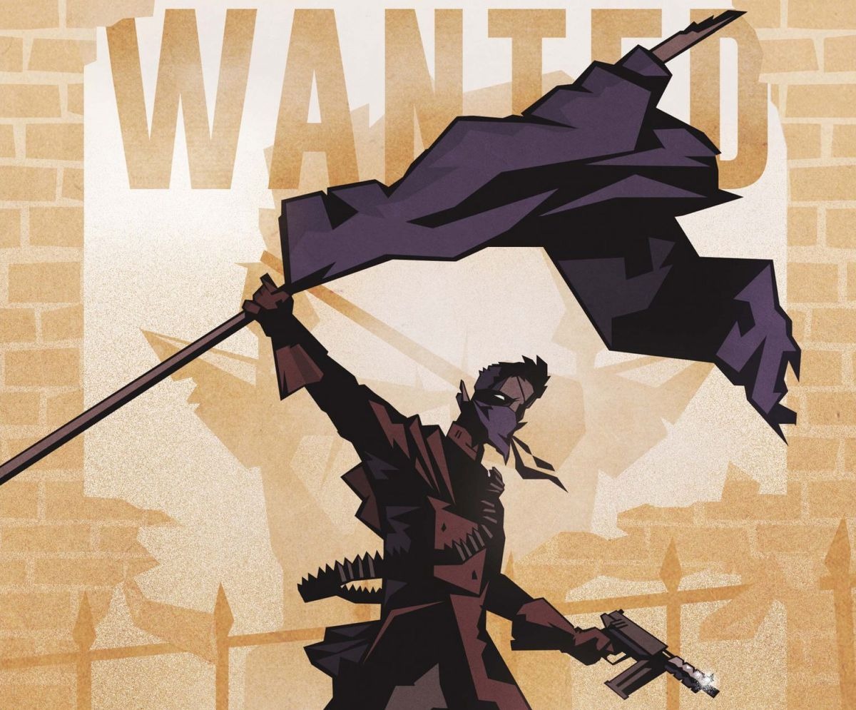 A rebel stands as though atop the barricades in Revolutionary France, holding a small automatic pistol and raising a purple banner. His ears are pointed.
