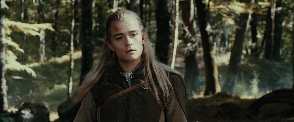 Legolas comes upon Aragorn tending to Boromir's fatal wounds. He looks vaguely sad but mostly confused.