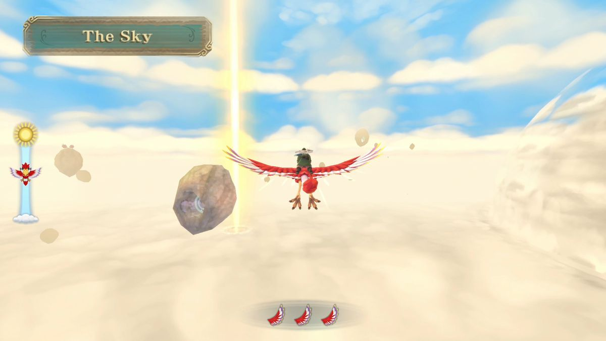 Link rides on the back of his Loftwing in Skyward Sword HD