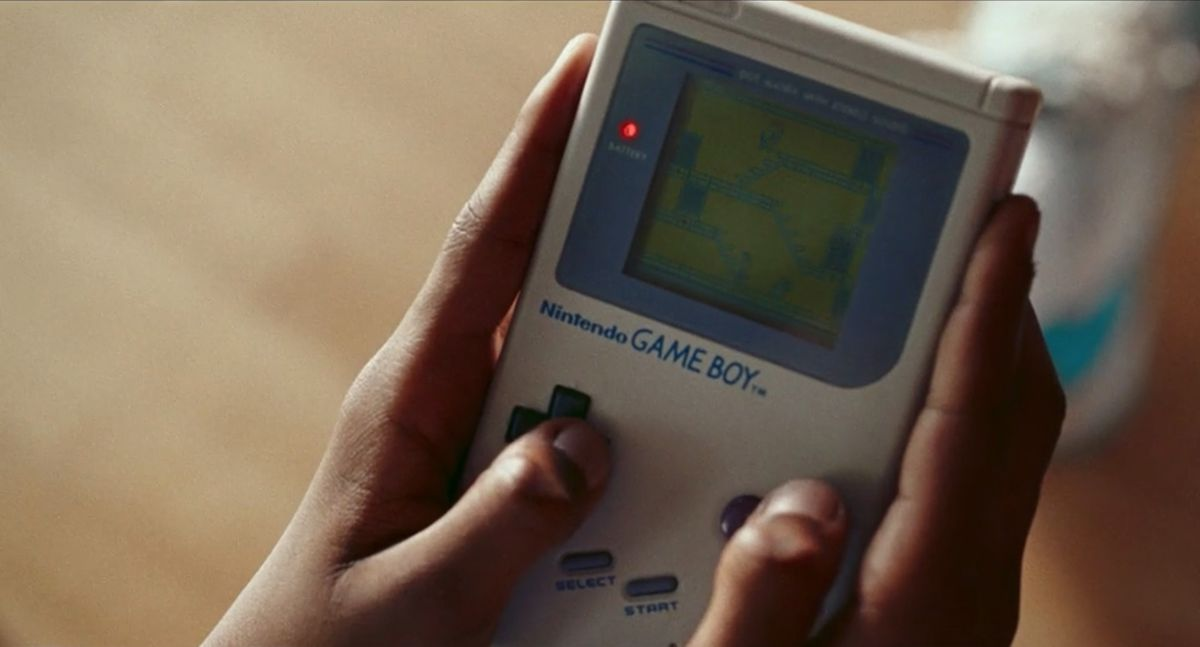 A shot of a Game Boy playing Bugs Bunny from Space Jam: A New Legacy