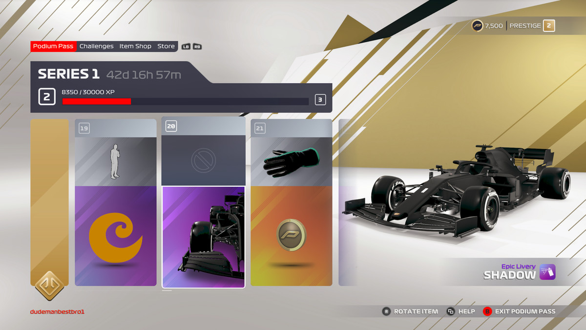 screen showing items that are unlocked at levels 19, 20, and 21 of F1 2021's podium pass