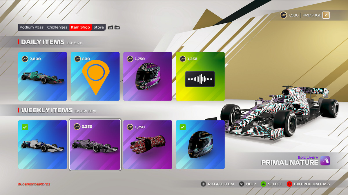 Screen showing eight cosmetics available in F1 2021's Daily Item Store