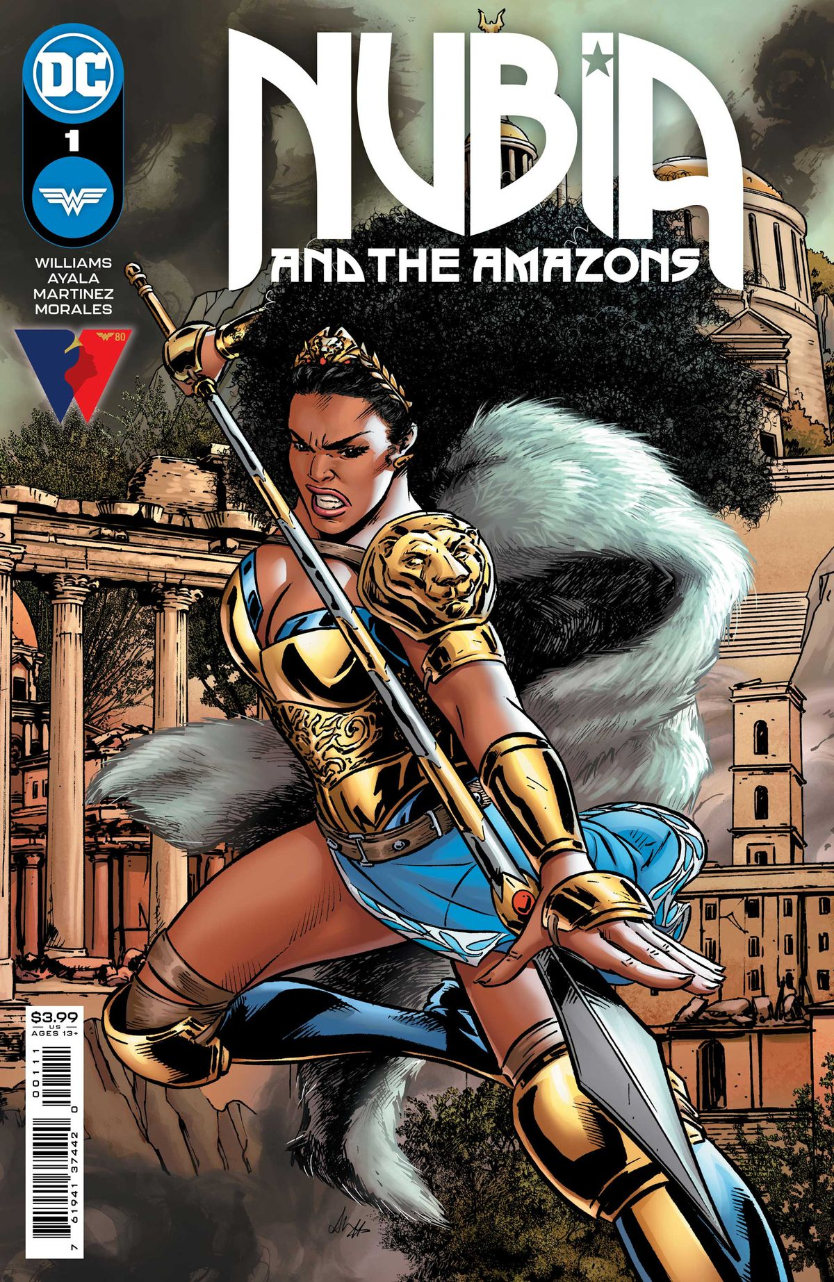 Nubia, queen of the Amazons, brandishes a spear on the cover of Nubia and the Amazons #1 (2021).