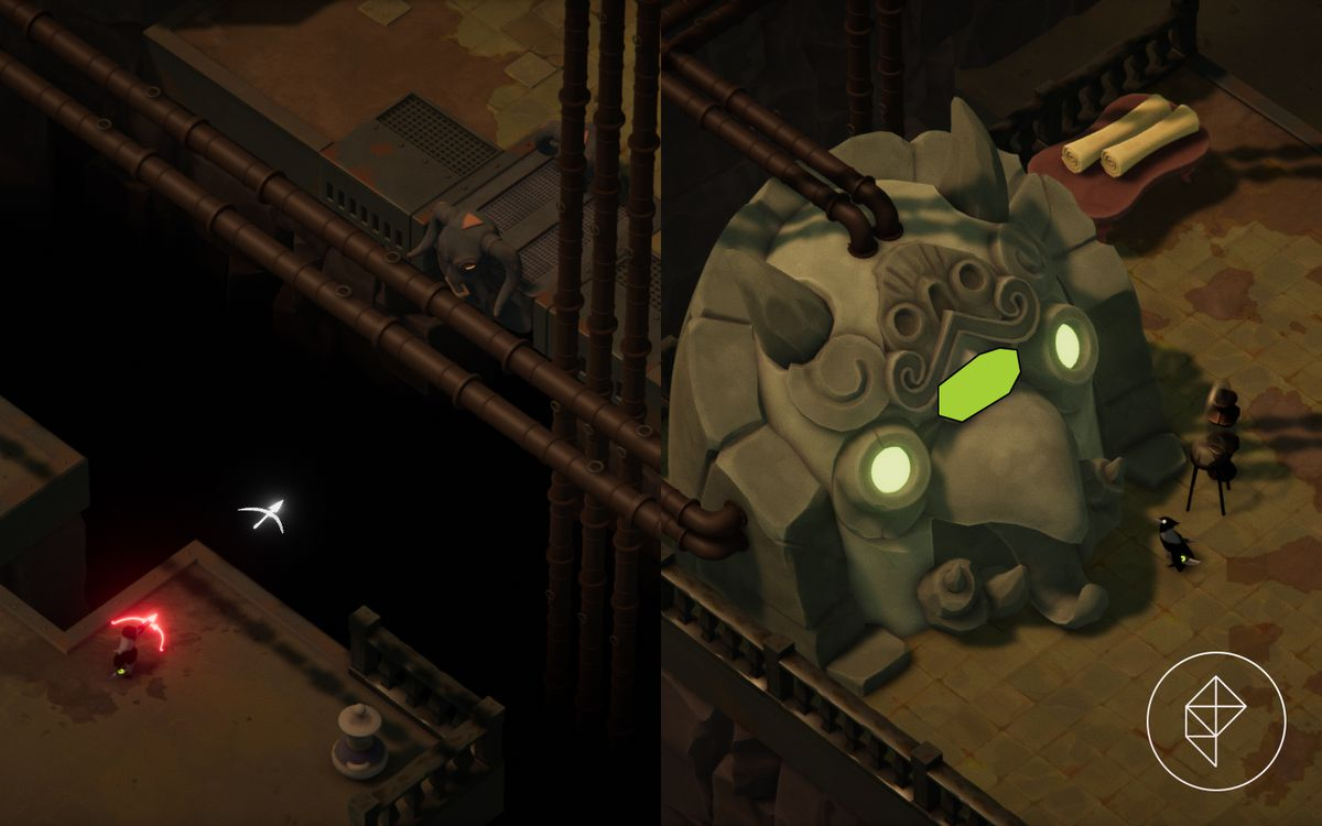 A split image showing where to find a missing platform in Death's Door on the left, with a vitality shrine on the right.