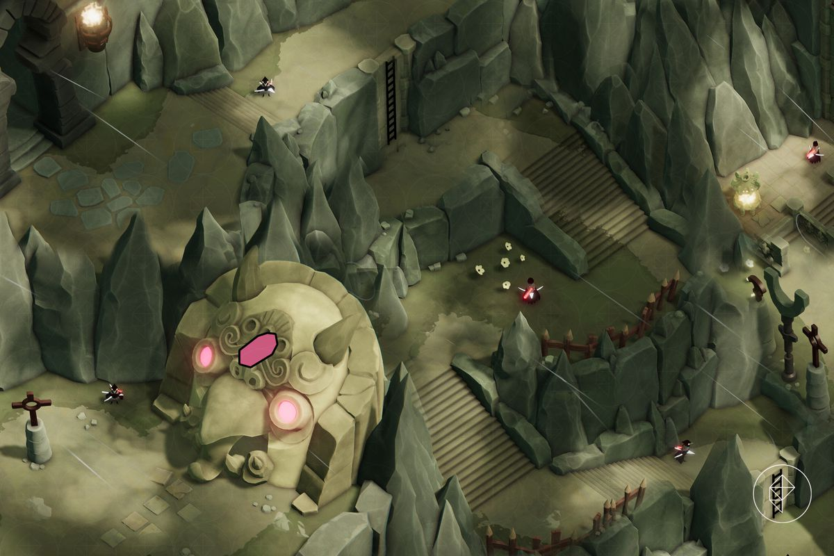 A map of The Lost Cemetery in Death's Door of a winding mountain path that leads to a cave. A red shrine sits on top of a cliff.