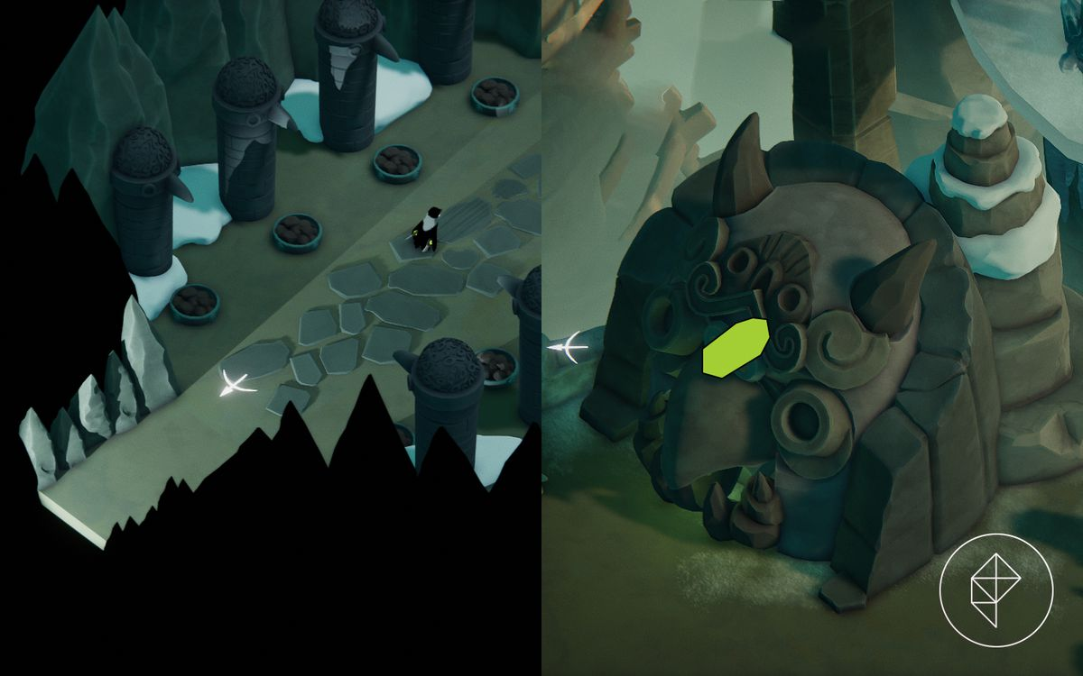 A split image showing the entrance to an icy challenge on the left with a vitality shrine on the right.