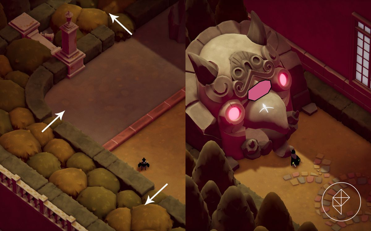 A split image with a garden secret path on the left and a magic shrine on the right.