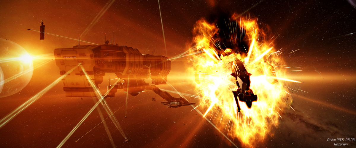 Gouts of yellow flame errupt from a wounded starship backlit by a distant disk of stars.
