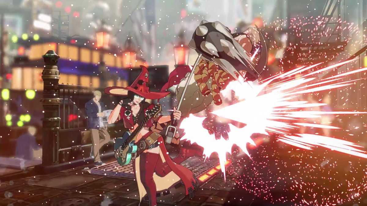A character fires off an explosive attack in Guilty Gear Strive