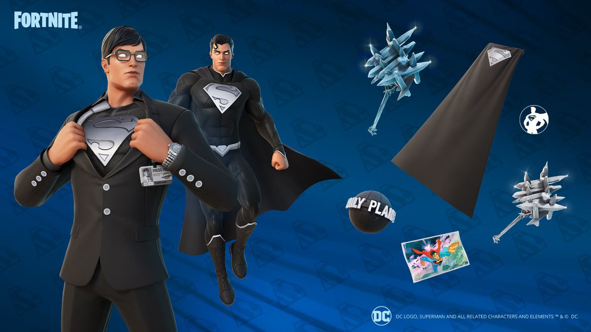 """Superman's """"Shadow"""" alt style and set in Fortnite"""
