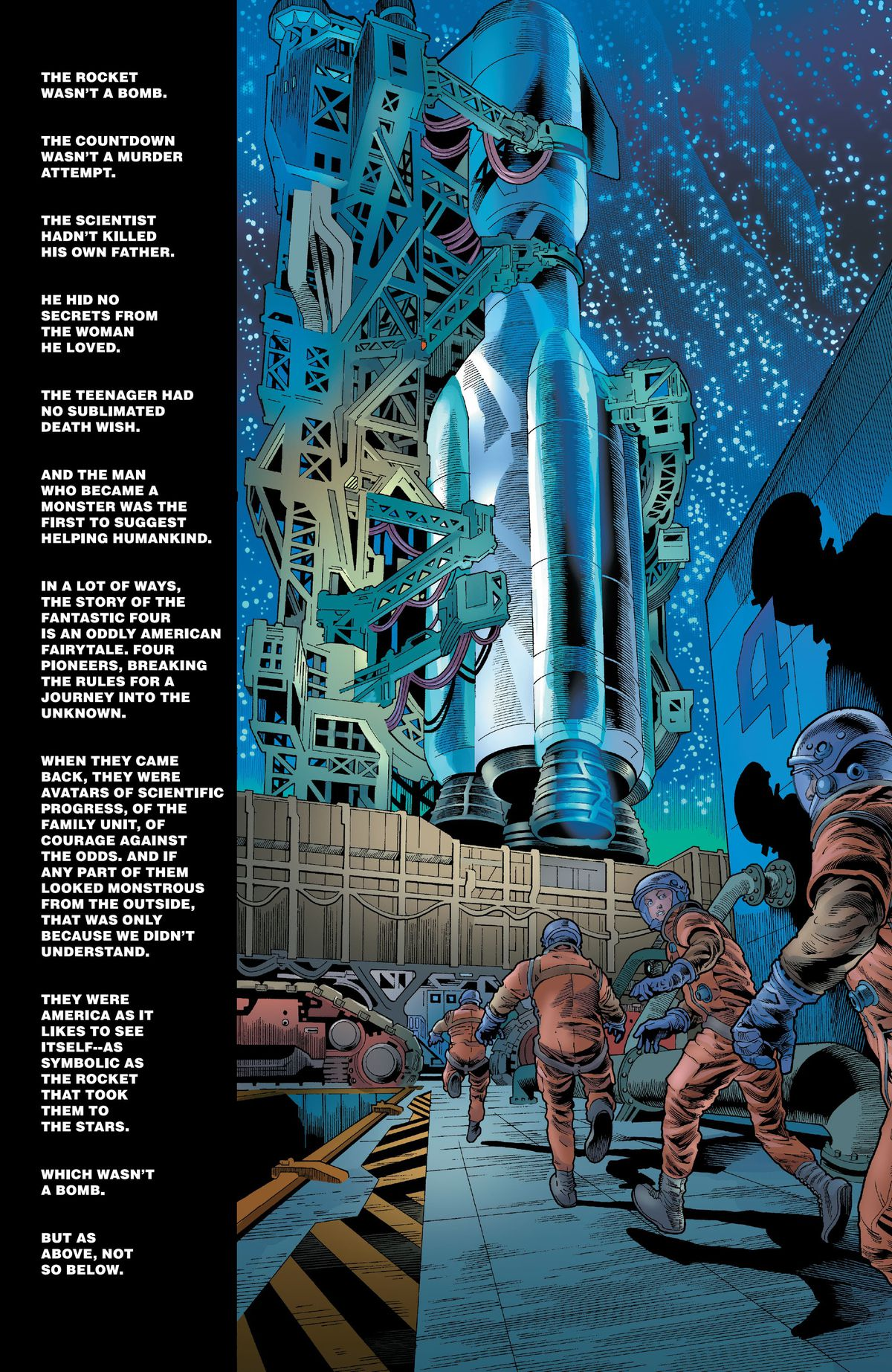 As the Fantastic Four scramble towards the giant rocket that would take them to their origin story, text draws a parallel between their heroic origin and the Hulk's tragic one in Immortal Hulk #49 (2021).