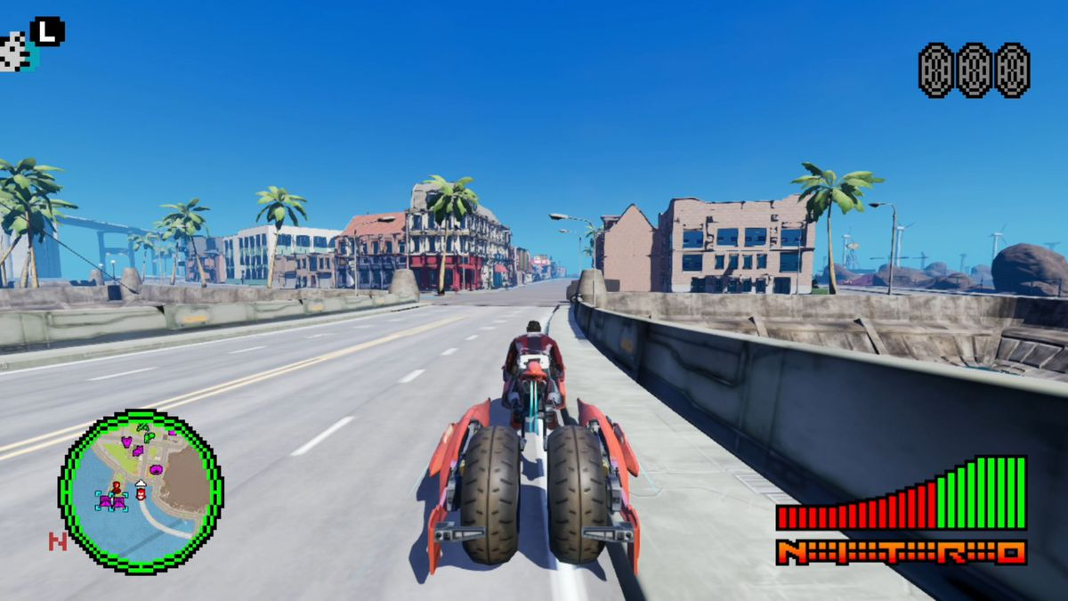 Travis rides a motorcycle through the barren streets of Santa Destroy in No More Heroes 3