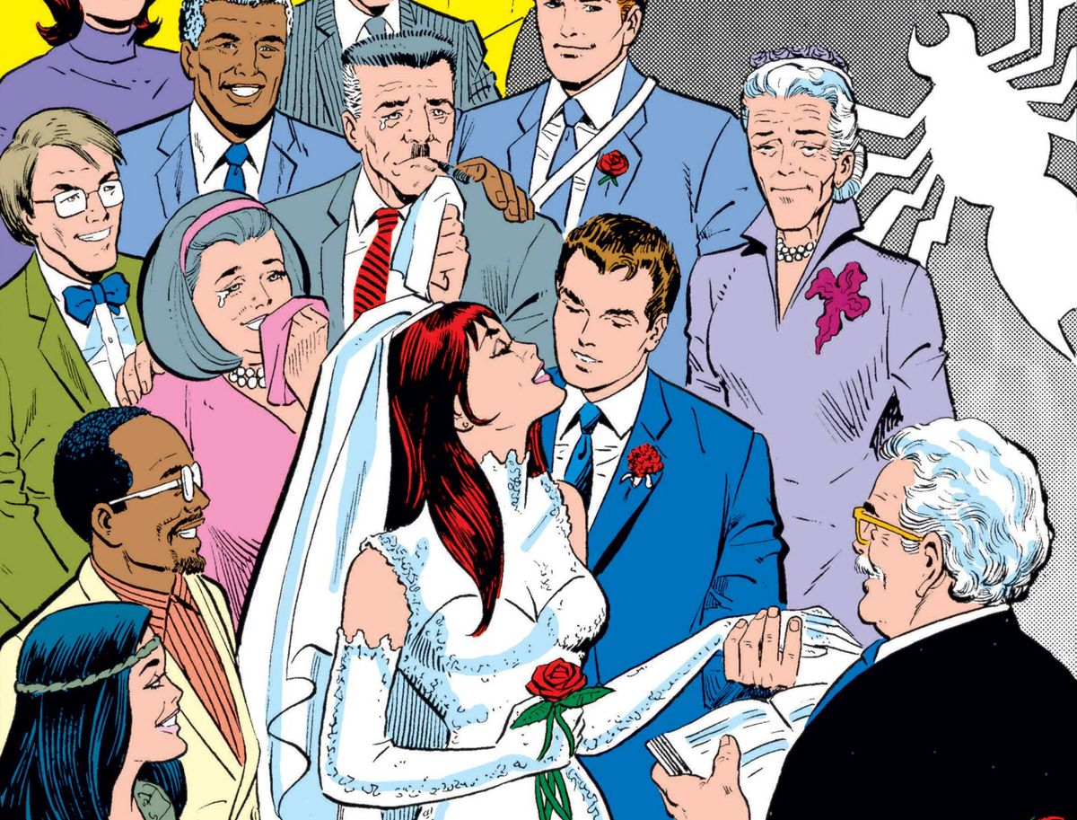 Peter Parker and Mary Jane are married, with J. Jonah Jameson, Aunt May, and other Spider-Man characters in attendance in Amazing Spider-Man Annual #21 (1987).