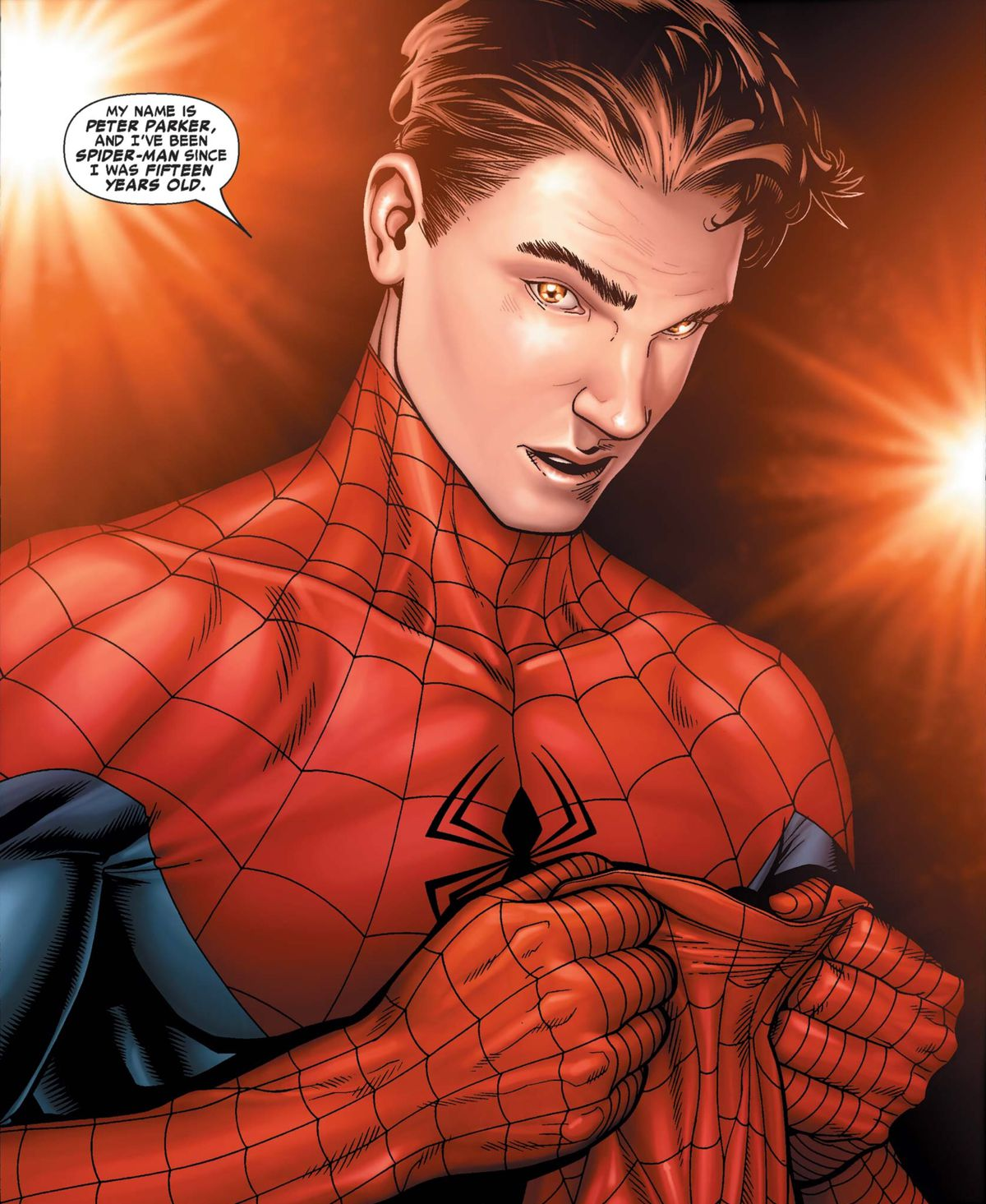 """Peter Parker unmasks in front of flashing photographers, saying, """"My name is Peter Parker and I've been Spider-Man since I was 15 years old,"""" in Civil War #2, Marvel Comics (2006)."""