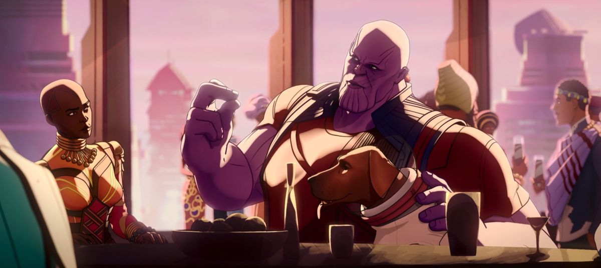 Thanos in Wakanda snapping his fingers at dinner in Marvel's What If...?