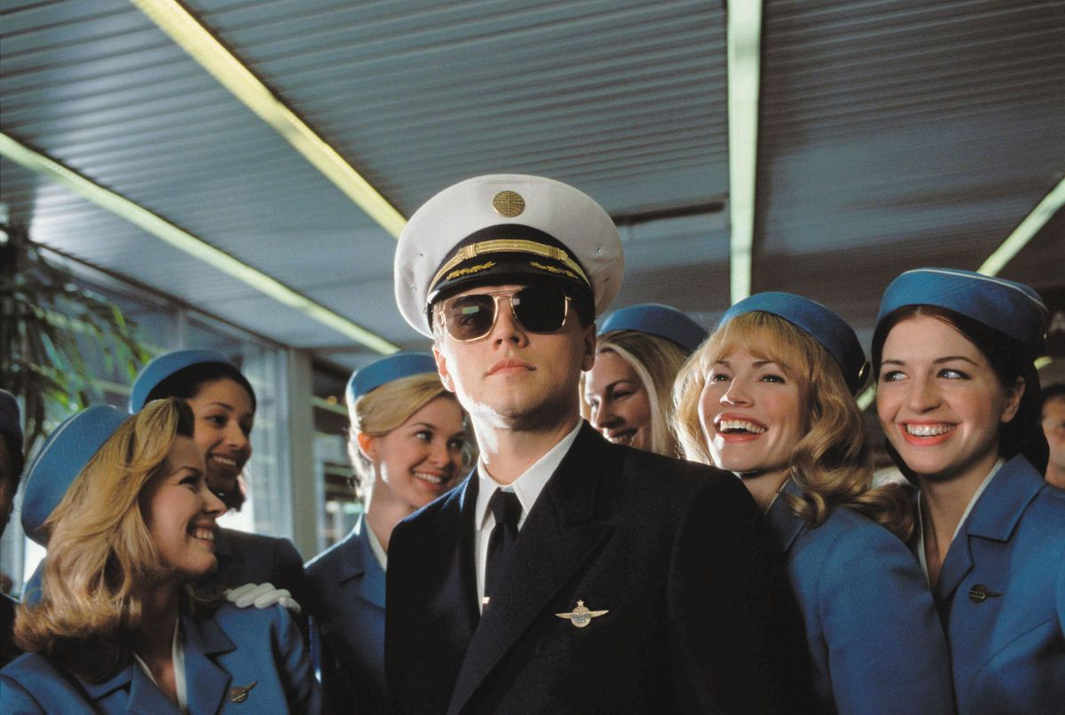 Leonardo DiCaprio as con-man Frank Abagnale Jr. in Catch Me If You Can.