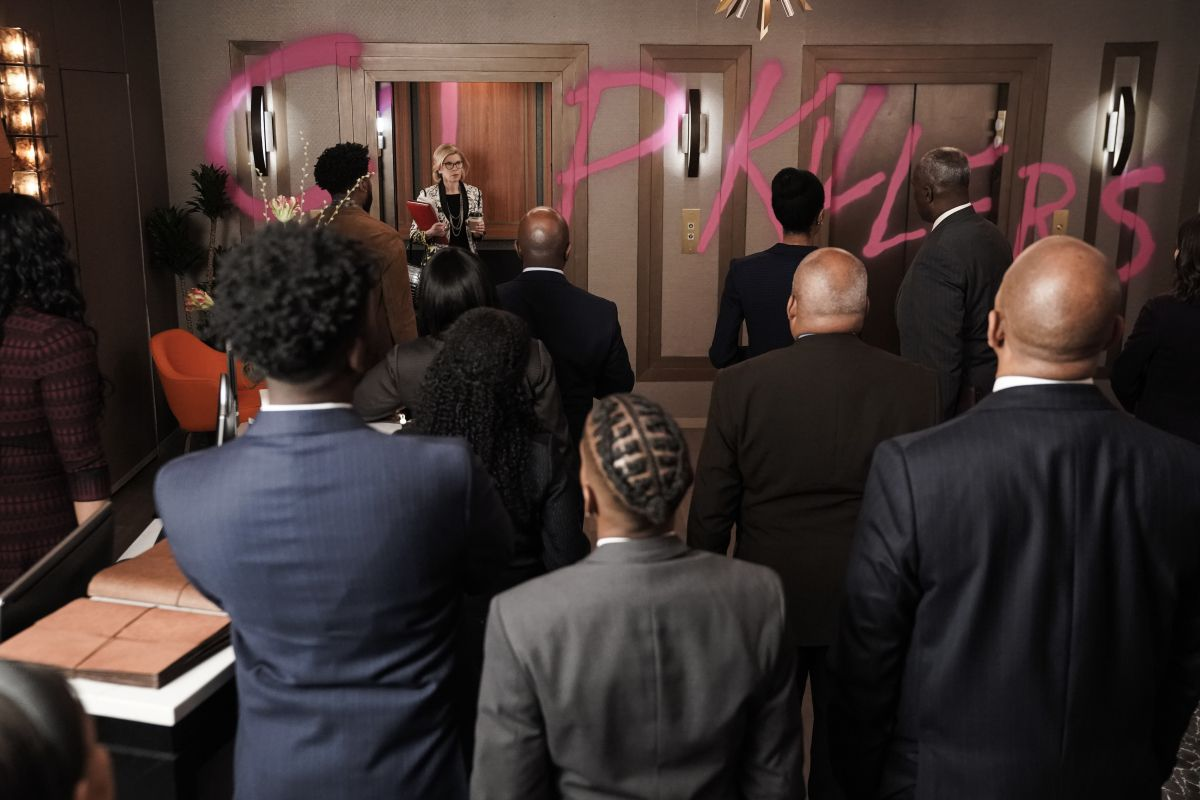 """The lawyers of The Good Fight find their offices vandalized with """"cop killers"""" written in graffiti."""