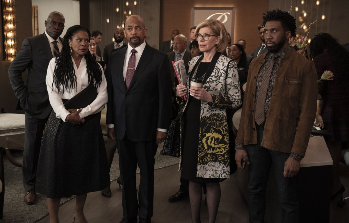 The lawyers of The Good Fight gather in their offices in a season 5 episode