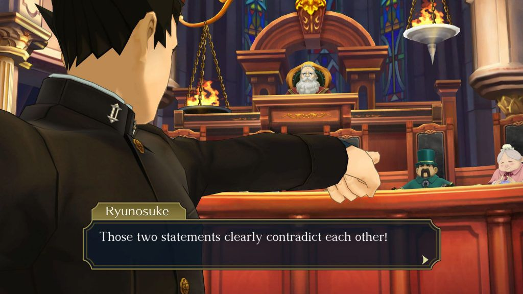 Ryunosuke Naruhodo addresses the courtroom in The Great Ace Attorney