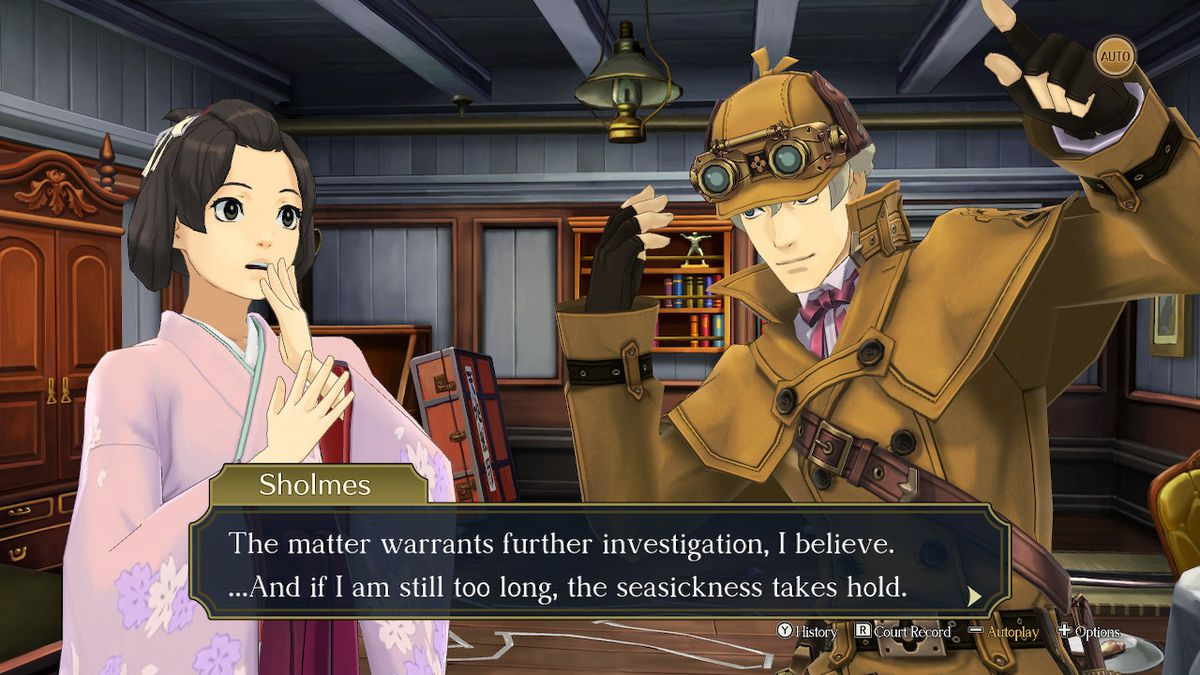 Susato (left) gasps in response to Herlock Sholmes (right) in The Great Ace Attorney Chronicles