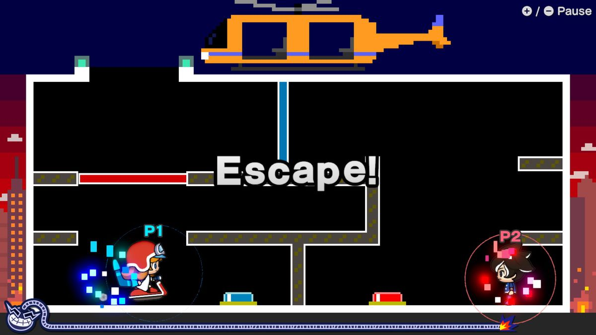 WarioWare: Get It Together! characters play an escape microgame