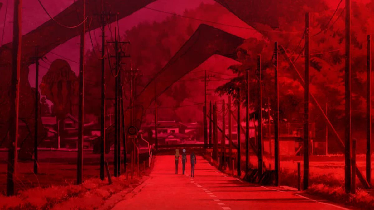 Asuka, Rei, and Shinji walking down an apocalyptical red-colored landscape