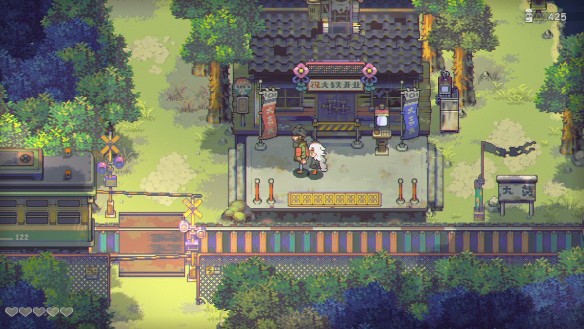Eastward- The player controls a pixellated sprite in a lush forest, and approaches a train station in the middle of a lush and verdant forest.