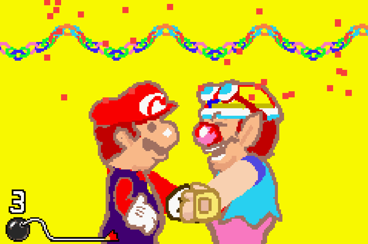 WarioWare Twisted - Wario shakes hands with Mario in a short minigame