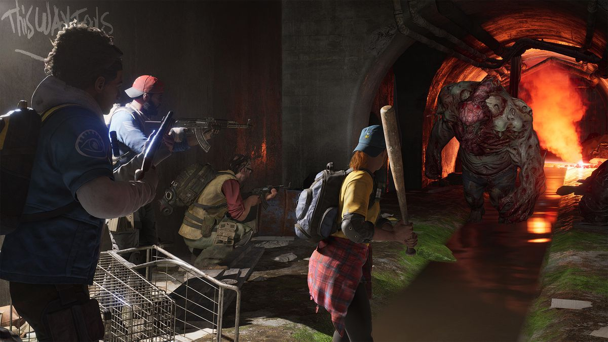 Four characters approach a monster underground