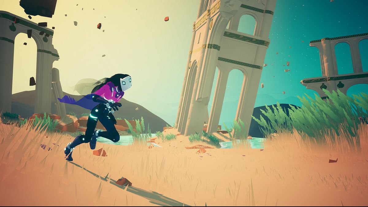 A character glides through dirt with buildings crumbling in the background in Solar Ash