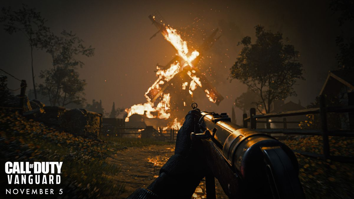 A character approaches a burning building on foot in Call of Duty: Vanguard