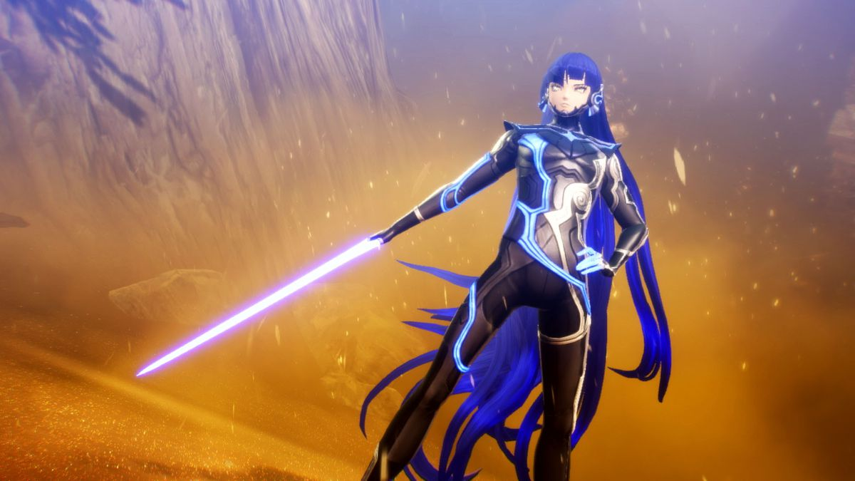 A character strikes a confident pose while holding a sword in Shin Megami Tensei 5