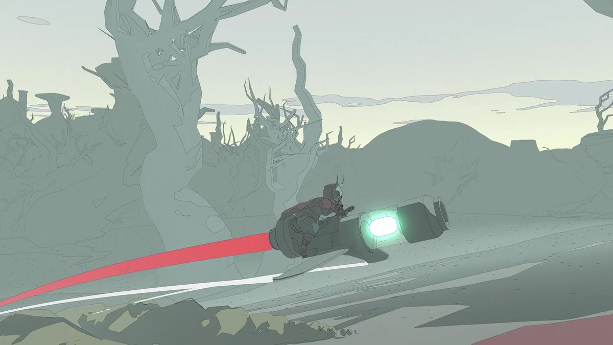A character moves across an open desert on a hoverbike in Sable