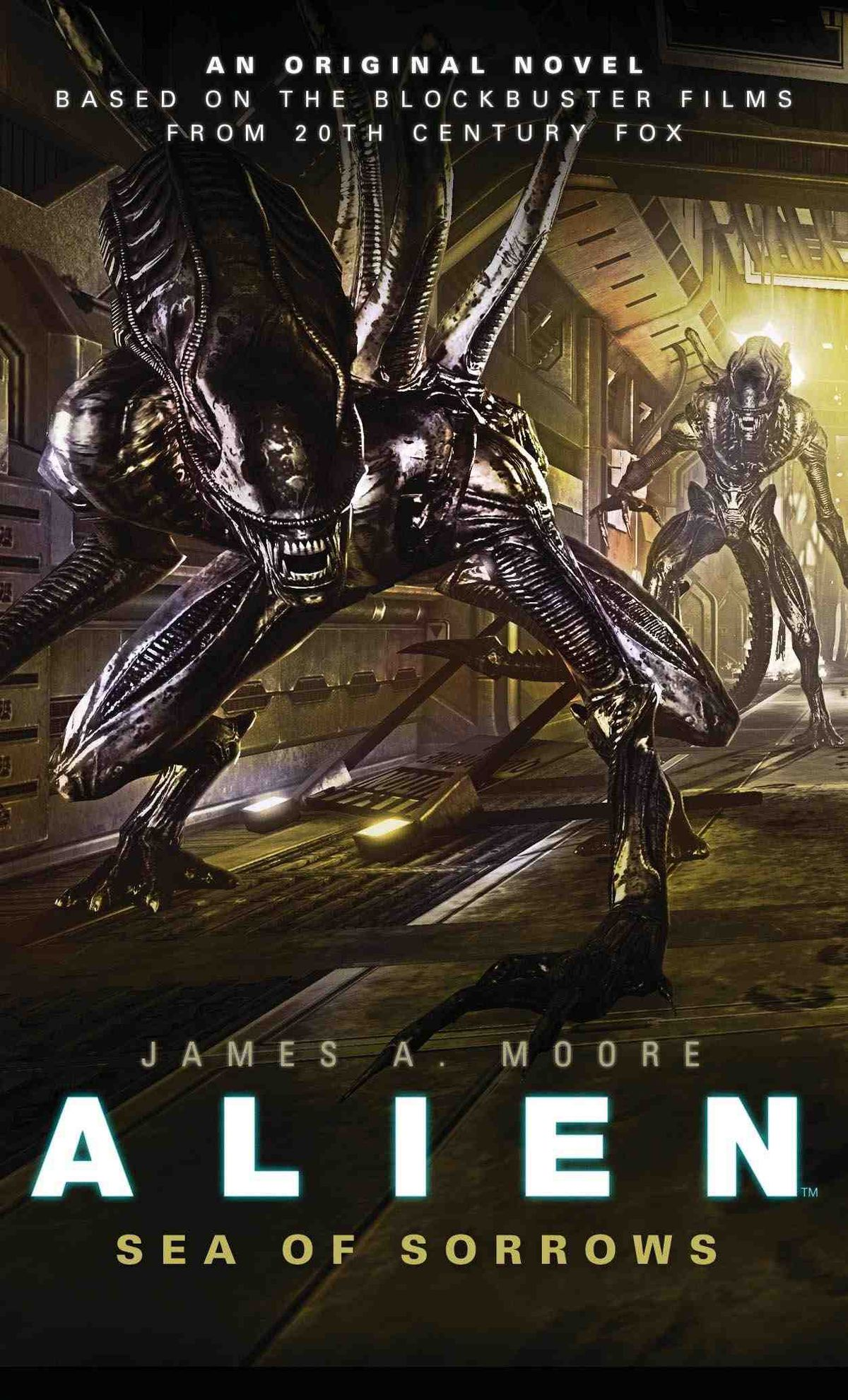 The cover of James A.Moore's Alien: Sea of Sorrows, showing two Xenomorphs in a hallway