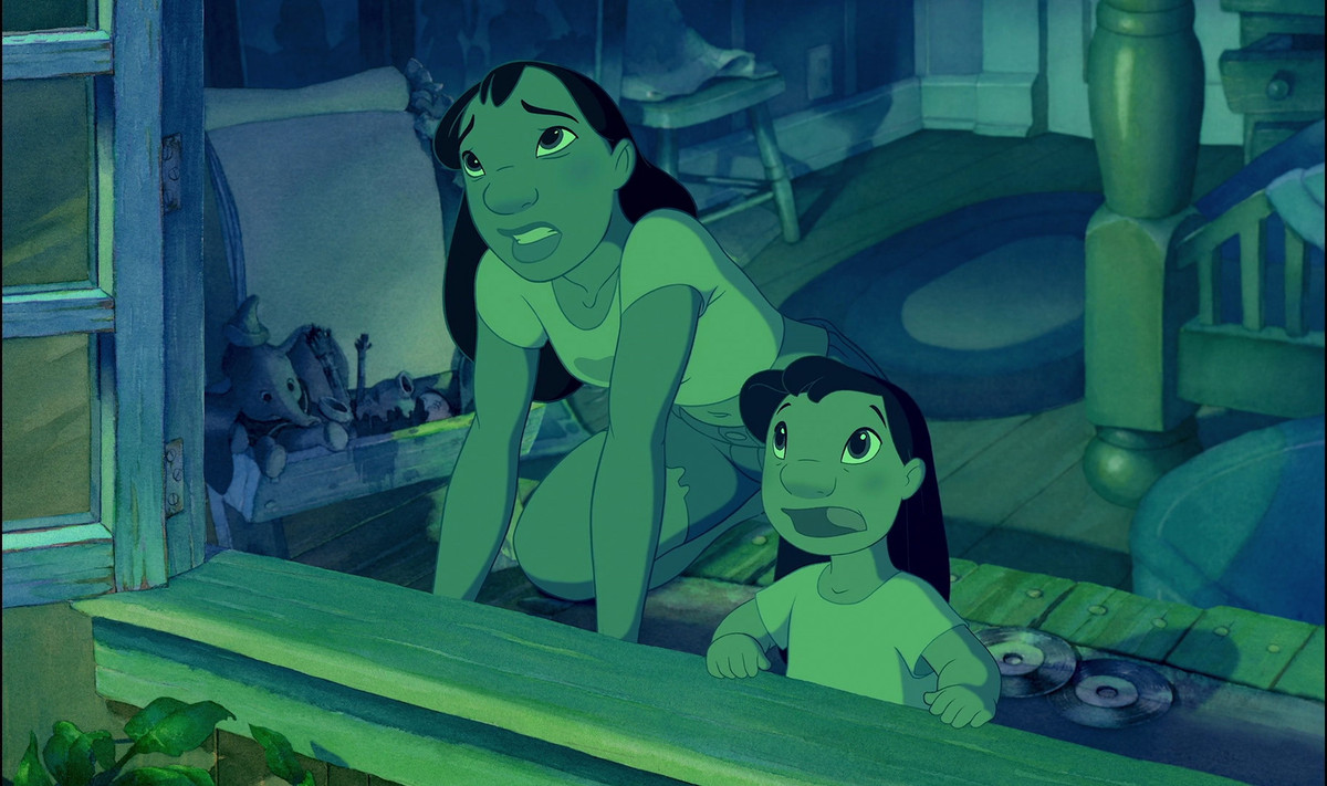 lilo and nani looking out the window, bathed in an eerie green glow